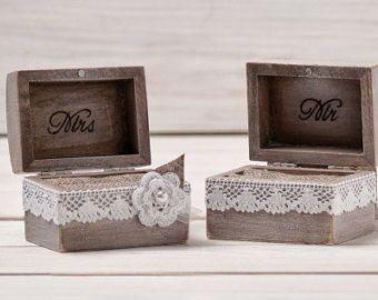 Ring Box Wedding Ring Holder Ring Pillow Bearer Box with