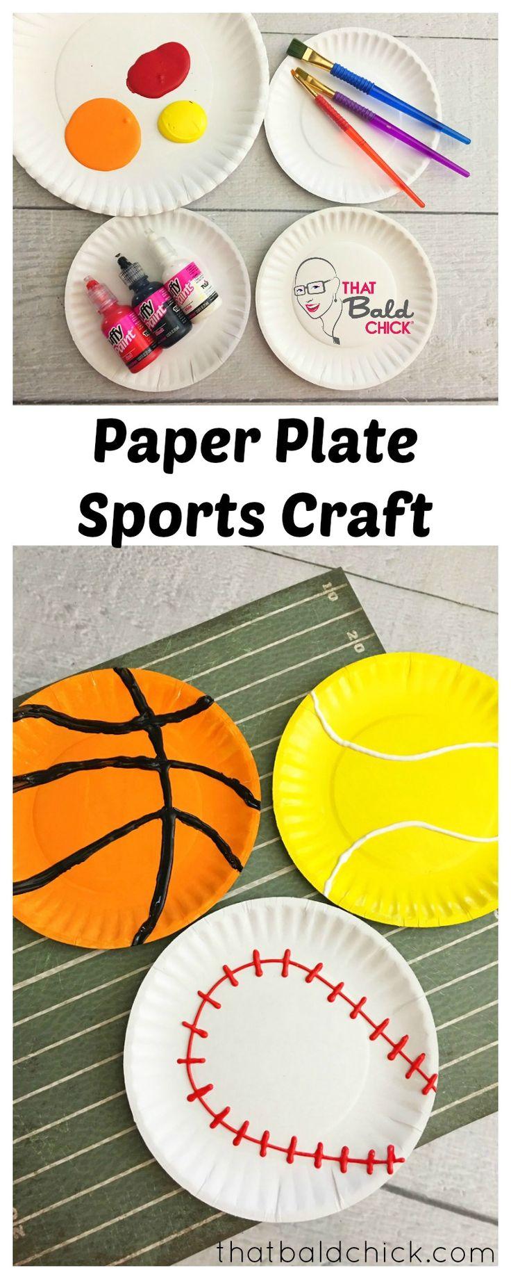 Paper Plate Sports Craft at thatbaldchick.com via @thatbaldchick