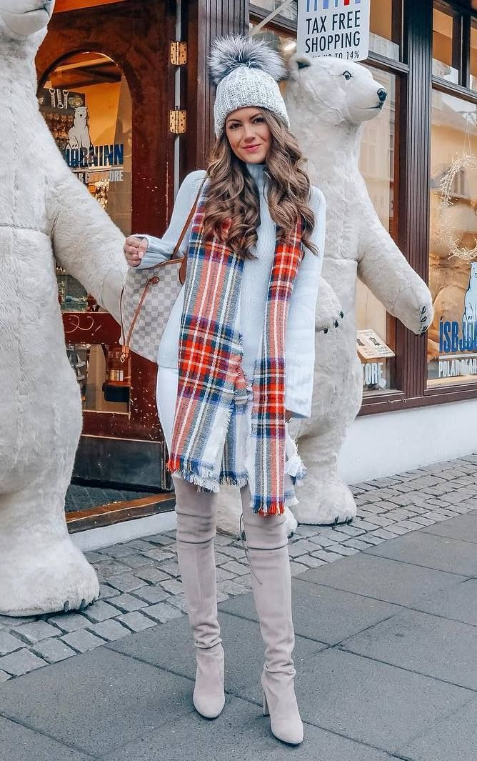 2831dc88be1 amazing outfit idea to copy this winter   plaid scarf + white sweater + bag  + hat + skinnies + over knee boots