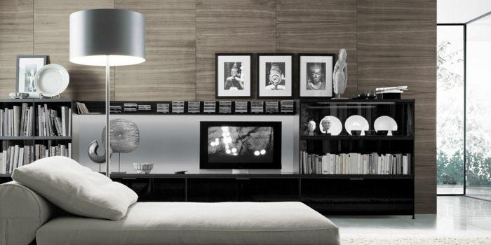1000+ ideaa Wohnwand Modern Pinterestissä  Wohnwand weiß holz