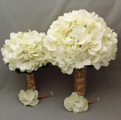 White hydrangea wrapped with burlap and rafia bridal