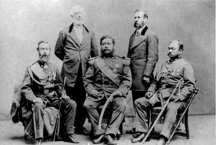 King David Kalakaua and his party visiting the US, 1874. (L-R) Gov ...
