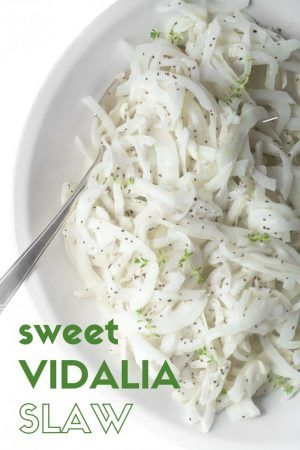 Sweet Vidalia Onion Slaw is a simple side that goes with anything and everything!  This easy low calorie, healthy salad recipe is perfect for picnics, Memorial Day, Barbecues, 4th of July, and all your summer gatherings. theviewfromgreatisland.com