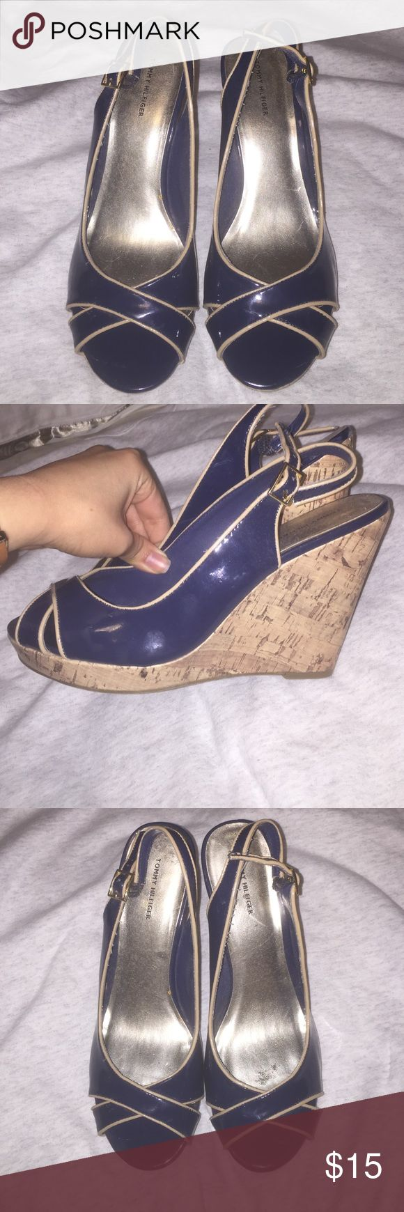 Navy blue Tommy Hilfiger Wedges - Women's size 10 Women's size 10 navy blue Tommy Hilfiger wedges. Work once. Wedges is cork and there is a buckle adjustment at ankle. 4 inch heels. Tommy Hilfiger Shoes Wedges