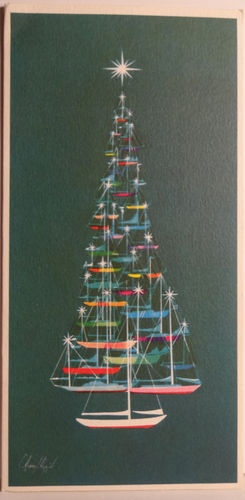 Coastal Christmas art - tree designed with sailboats - Clever!                                                                                                                                                                                 More