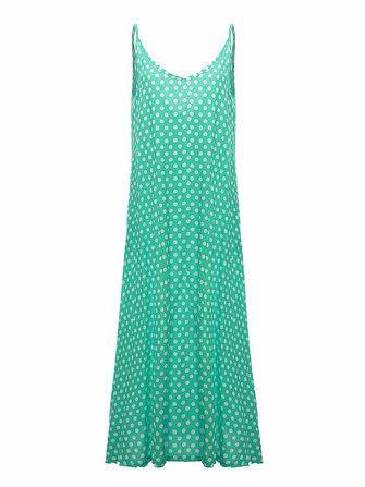 Women Summer Sexy V-Neck Strap Dot Backless Beach Maxi Dress at Banggood