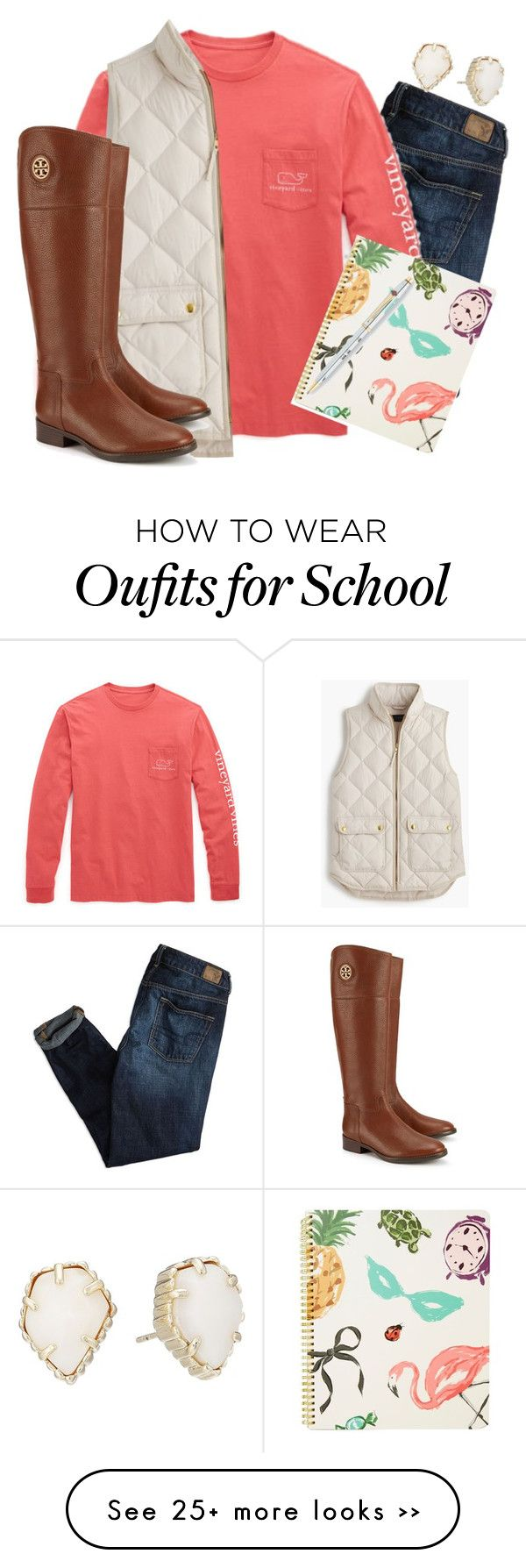 """School"" by sassysouthernprep on Polyvore featuring American Eagle Outfitters, Vineyard Vines, J.Crew, Tory Burch, Kendra Scott, Kate Spade and vintage"