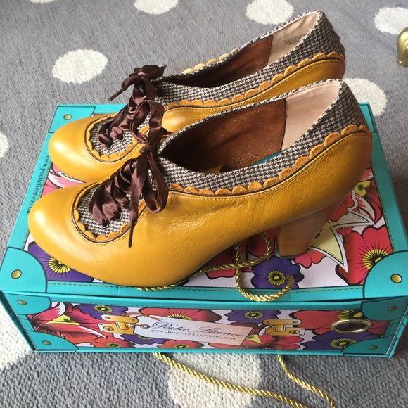 Poetic License backlash heels Anthropologie/ poetic license backlash heels.  Must as yellow.  Brown lace up.  Very gently used Anthropologie Shoes Heels
