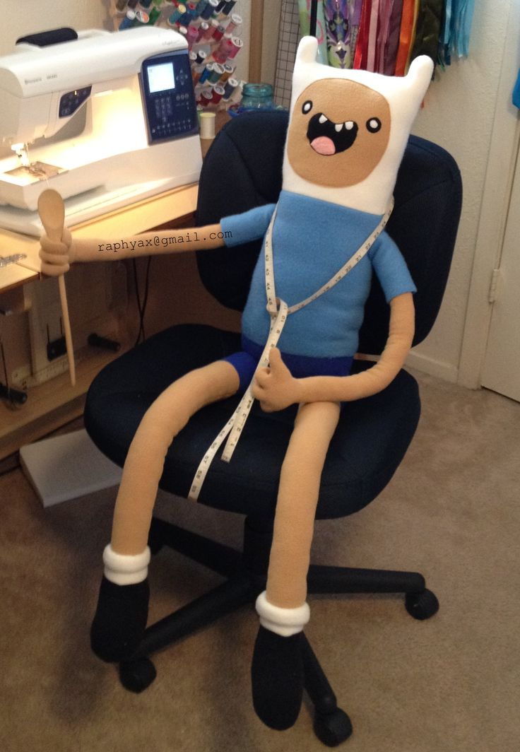 This week I made a plush inspired by Finn the Human on Adventure Time. He took about 12 hours total to sew & is constructed from new polyester fleece, polyfil, and his arms have internal 20 gauge wire armature. His fingers are individually poseable so he is can hold a sword, or hang from the ceiling fan. He is 49 inches tall from foot to awesome hat, and has an arm span of 50 inches. He enjoys adventuring with his best friend Jake and hopes that Princess Bubblegum will accompany him to date…