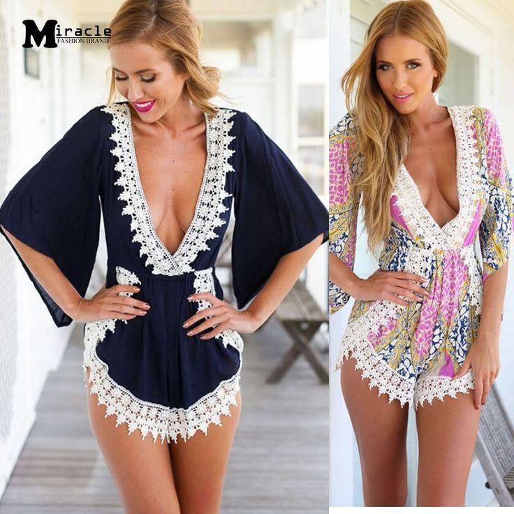 Одежда для пляжа мода кружева цветочные шорты комбинезоны комбинезон нерегулярные крючком сексуальная элегантный V шеи комбинезон женские женские комбинезоны(China (Mainland))
