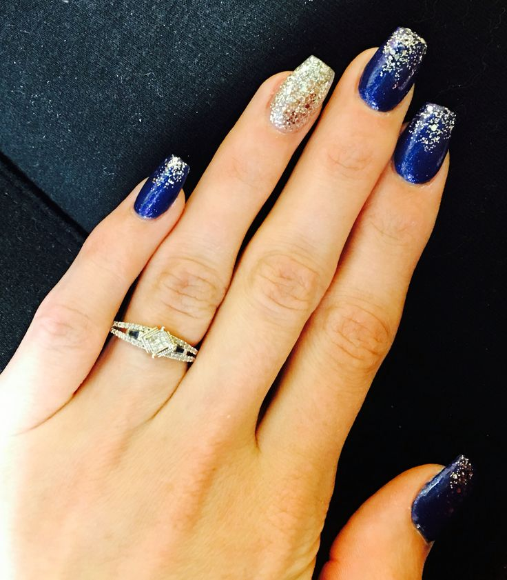 Blue Prom Nails: Coffin Nails. Gorgeous Blue With Silver Ombré Glitter