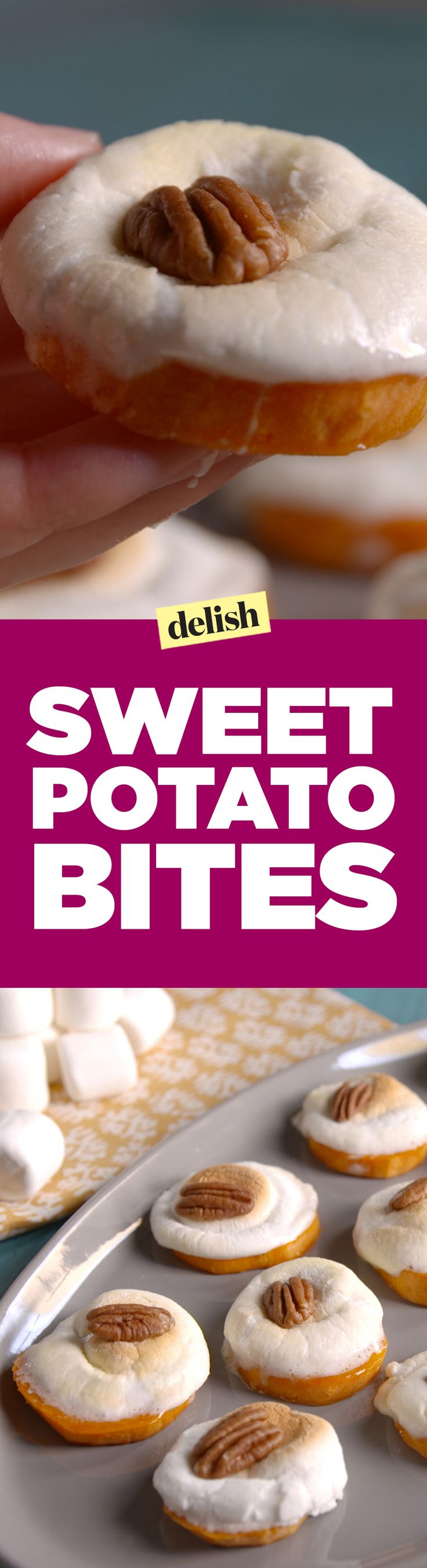 Sweet potato bites are the Thanksgiving app that everyone will be talking about. Get the recipe on Delish.com.