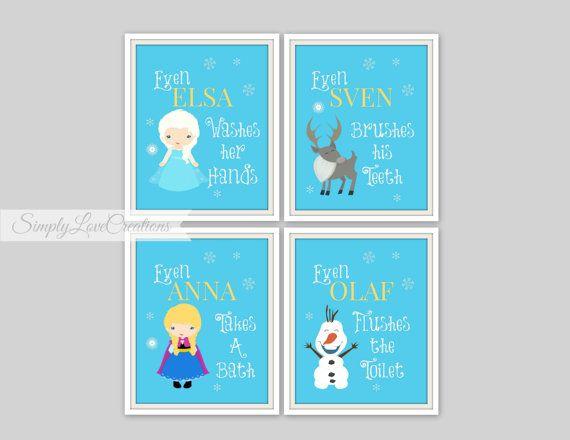 Frozen Bathroom Prints - Set of 4 Prints -