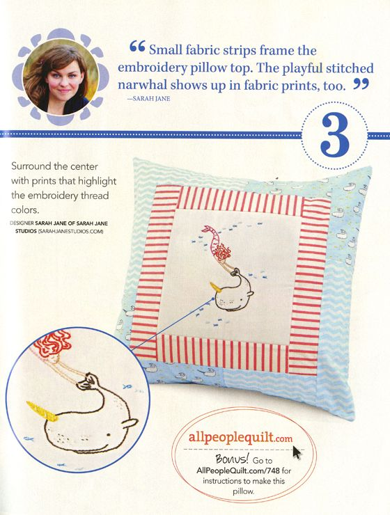 Mermaid and Narwhal Embroidery & Pillow pattern « Sarah Jane Studios Blog