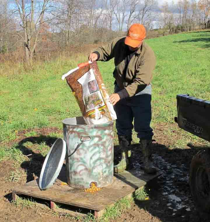 Jeff Neal's inexpensive deer feeder will last for several years and hold about 250 pounds of food. (DDH Photo: Alan Clemons)