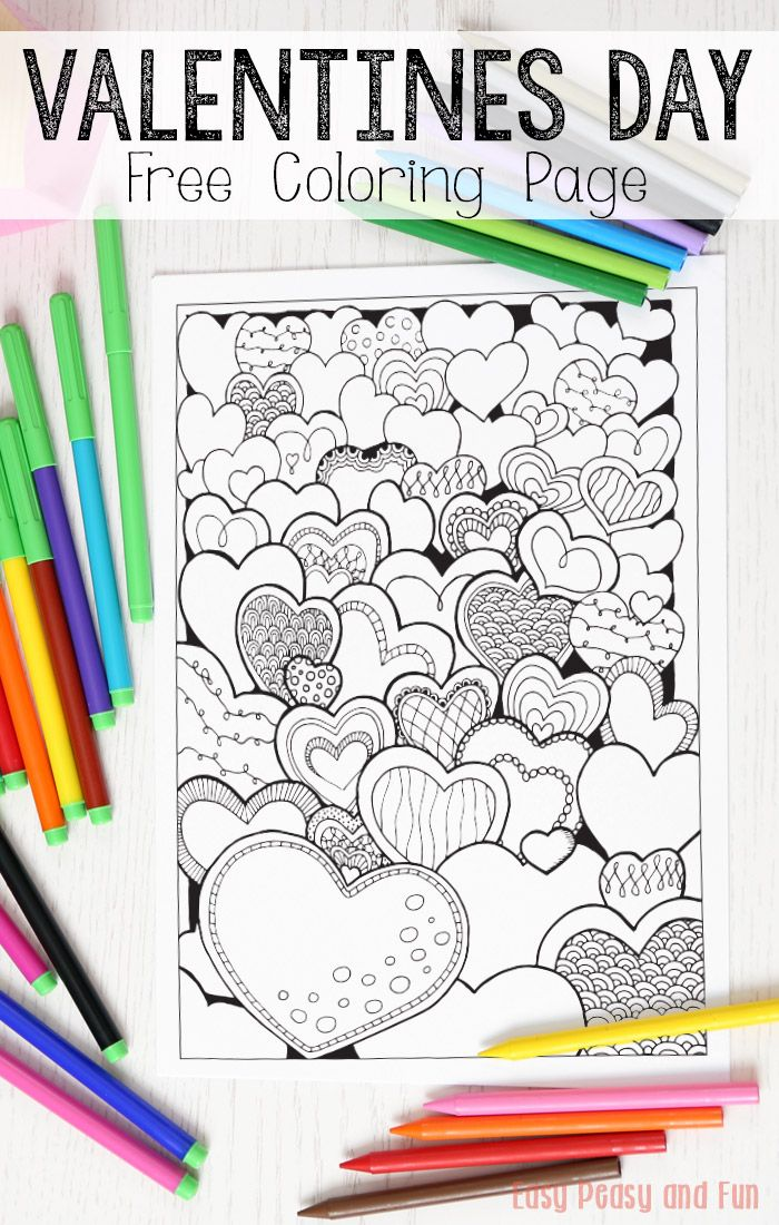 FREE printable Hearts Valentines Day Coloring Page for Adults and Kids