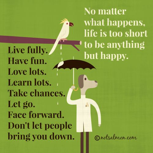 No matter what happens, life is too short to be anything but happy. Live fully. Have fun. Love lots. Learn lots. Take chances. Let go. Face forward. Don't let people bring you down. #notsalmon @Karen Salmansohn