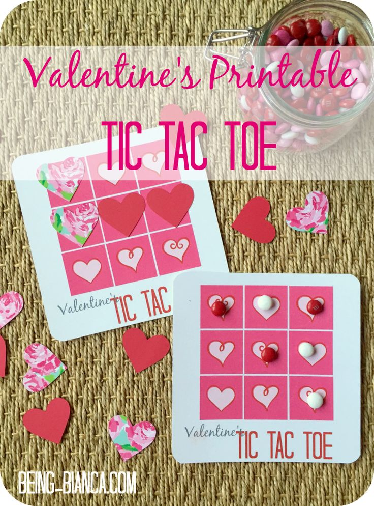 Free Printable Valentine's Tic Tac Toe - this game is so cute to play at home or with a class (perfect for class parties!)