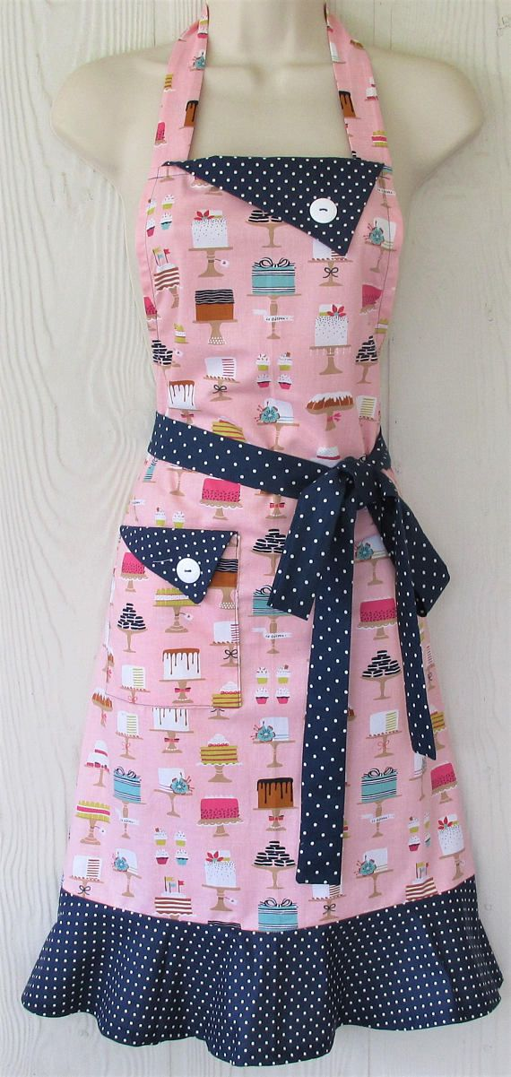 Cute Cake Motif Apron Coral and Navy Polka Dot Retro Style
