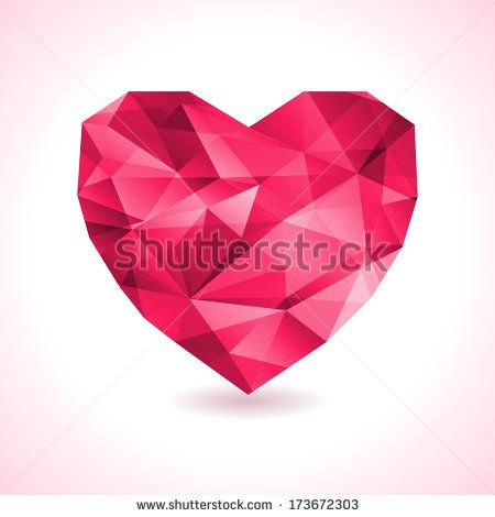 Pink origami heart on white backdrop with shadow. Vector Illustration. Abstract polygonal heart. Love symbol. Low-poly colorful style. Romantic background for Valentines day. - stock vector