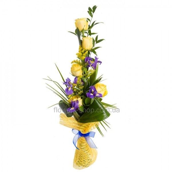 Букет Шотландия. Купить букет из желтых роз и ирисов вытянутой формы с доставкой