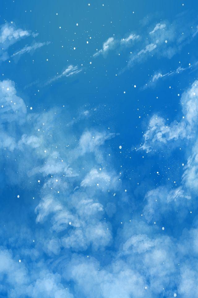 Mao Desenhada Ceu Azul Minimalista Com Nuvens Brancas De Fundo Do