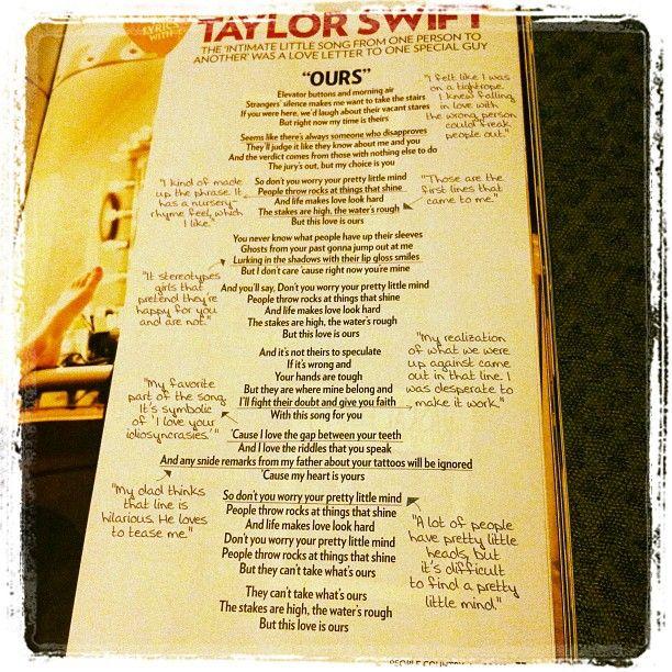 Taylor Swift – Ours Lyrics | Genius Lyrics
