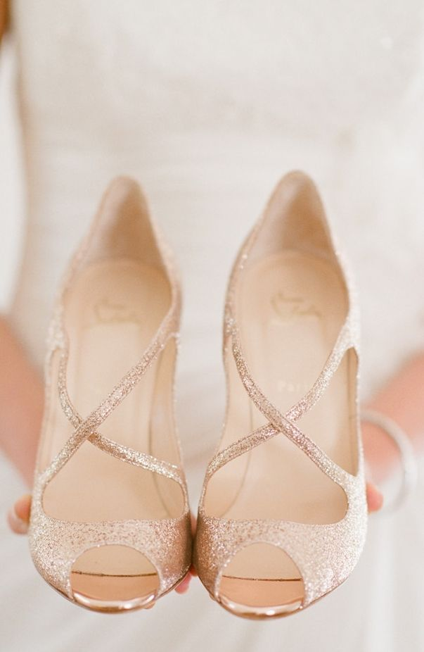 White and Gold Wedding Shoes. Sparkly Glitter Heels. Bride Shoes. bridal shoes