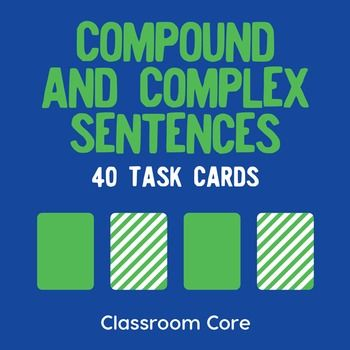 Compound & Complex Sentences: In this activity, students identify compound and complex sentences by using task cards. They also practice finding subordinate conjunctions and relative pronouns, as well as dependent and independent clauses. The set features grammar posters, 40 task cards, and a matching build-your-own storage case for fun and convenient organization of your cards!Whats included? 40 task cards, which feature compound and complex sentence practice Instructions for using task ...