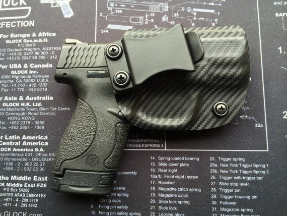 M&P Shield (40/9mm) Smith and Wesson Custom Holster - CARBON FIBER Black / RHand / IWB / Concealed Carry