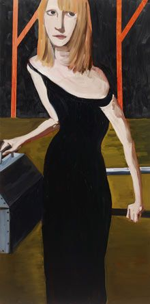 """Yvonne by Chantal Joffe (oil on board, 2009)...""""I paint in oils and it is a dirty medium. It's sticky, it gets in your hair, on your clothes and it's impossible to get off. Even keeping paintbrushes clean is a challenge. The first time I used oils was at school. I was copying a Rembrandt and the results were this grubby mess."""""""