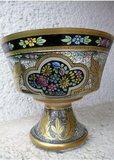 Art Nouveau Bohemian Transparent Enamel J. Muhlhaus,Haida BOWL