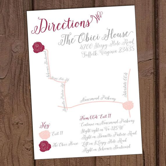 Romantic Blush Floral Wedding Directions Card with Custom Map by Aurora Graphic Studio's Invitation Line: Aurora Invited