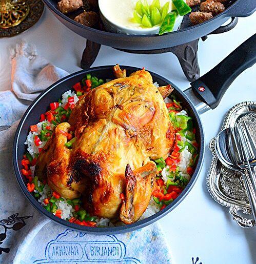 丸鶏焼きとクリスマスピラフ  フライパンディナー