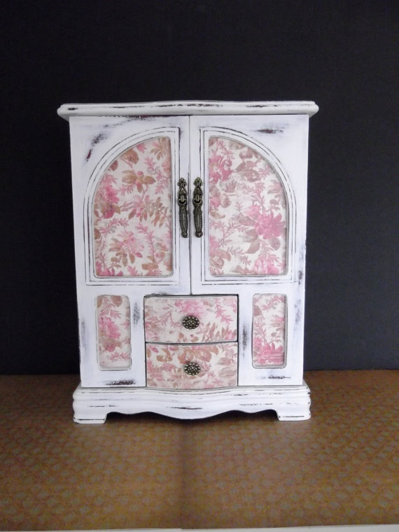 Vintage Jewelry Box with Shabby Chic Roses Paper by Eweniques, $84.00