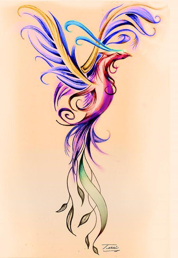 Watercolor Phoenix Bird Tattoo Idea