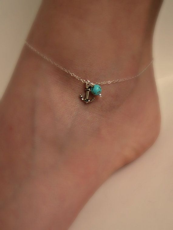 Silver Anchor Anklet with Turquoise Delicate jewelry Sorority gift Girlfriend gift Wedding Gifts Shower Gifts on Etsy, $17.50