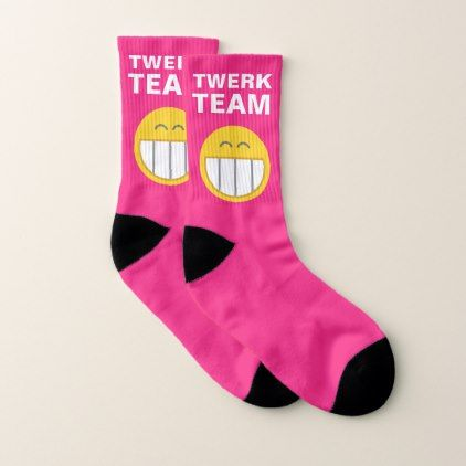 Hilariously Funny Twerk Team Emoji Hot Pink Socks - girly gift gifts ideas cyo diy special unique
