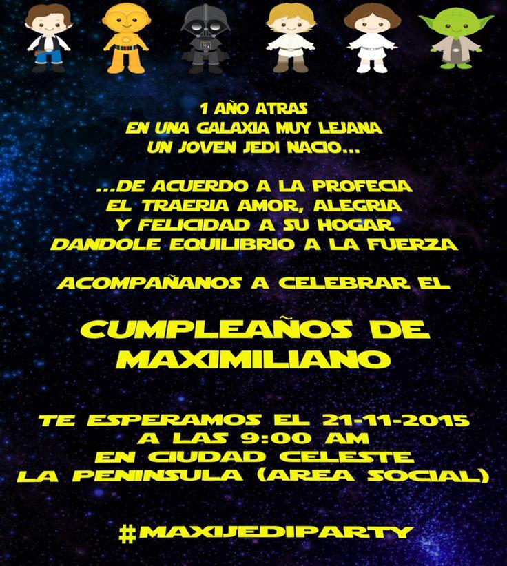 Invitación a fiesta de star wars party invitation Cumple Maxi Pinterest Star wars party