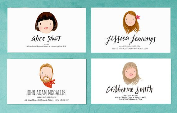 A 3.5 x 2 business card personalized with a custom illustrated portrait and your details. A unique, individual card to help you be remembered.