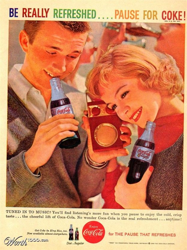 Vintage Coke Ad~Notice the teens listening to a transistor radio? I got one for Christmas 1962. I was 10 years old.