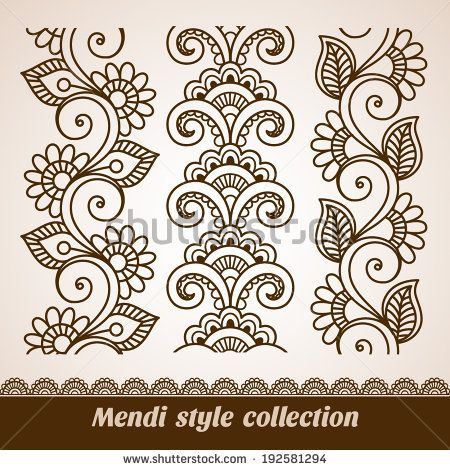 Ornamental seamless borders. Vector set with abstract floral elements in indian style. Mendi collection by Bariskina, via Shutterstock