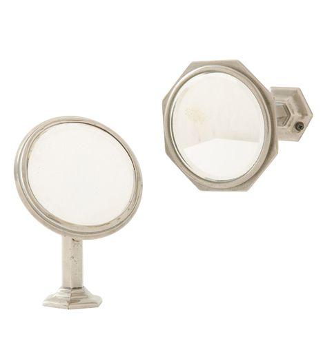 Pair of Nickel-Plated Extendable Mirrors