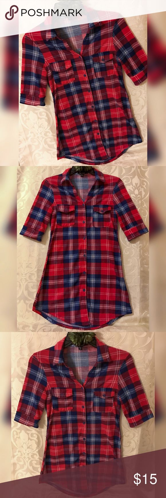 New Look Flannel Button Up Cute red, white, and blue button up long flannel by New Look. Top has 3/4 sleeves and can be worn as a top or dress. This top looks great with leggings. New Look Tops Button Down Shirts
