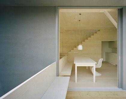 great extension of indoor to outdoor bench (+ panton s chair...)
