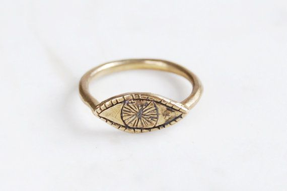Datter Industries Golden Watchful Eye brass ring (also available in sterling silver), $55.17