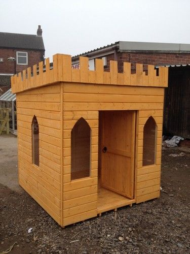 large childrens wooden playhouse wendy house play castle | eBay