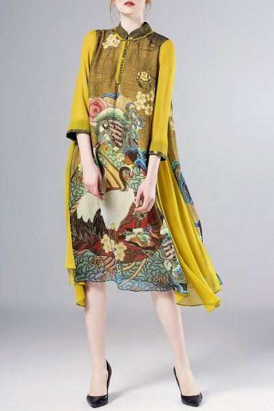 Pokwai Floral A Line Crane Print Silk Swing Dress | Midi Dresses at DEZZAL Click on picture to purchase!