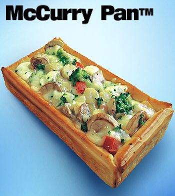 21. McCurry Pan (India)  Rectangular bread bowl filled with chicken and vegetables in a tomato curry sauce