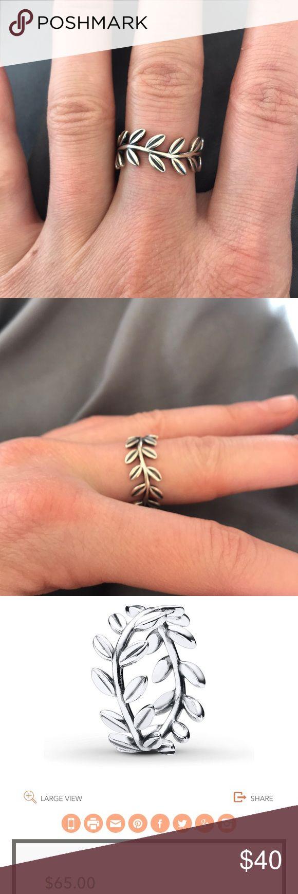Pandora leaf ring Pandora sterling silver 925 leaf ring size 6 Pandora Jewelry Rings